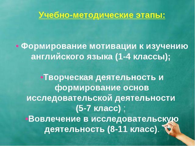 Учебно-методические этапы: • Формирование мотивации к изучению английского яз...