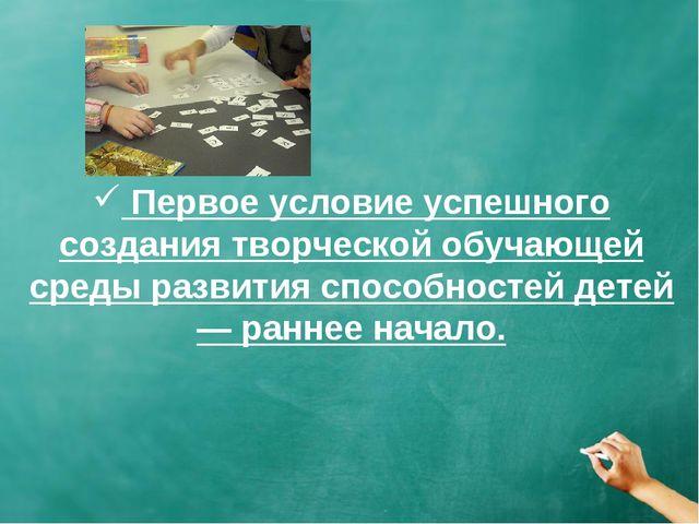 Первое условие успешного создания творческой обучающей среды развития способ...