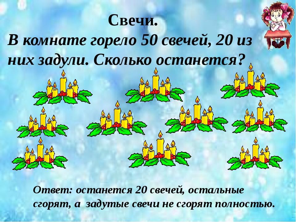 Свечи. В комнате горело 50 свечей, 20 из них задули. Сколько останется? Ответ...