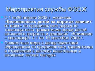 Мероприятия службы ФЗОЖ С 1 по30 апреля 2008 г. месячник «Безопасность детей