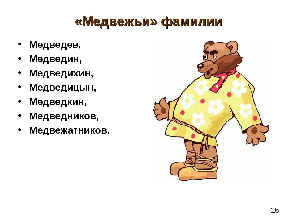 «Медвежьи» фамилии Медведев, Медведин, Медведихин, Медведицын, Медведкин, Мед...