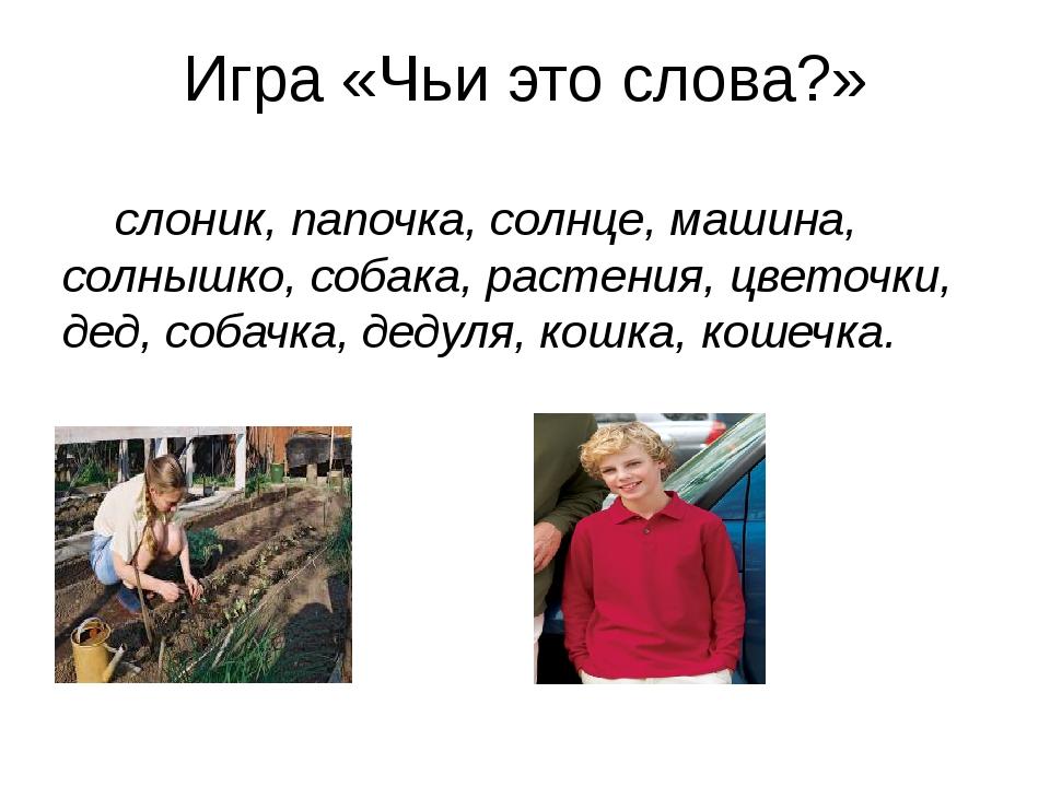 Игра «Чьи это слова?» слоник, папочка, солнце, машина, солнышко, собака, раст...