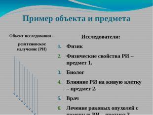 Пример объекта и предмета Объект исследования - рентгеновское излучение (РИ)