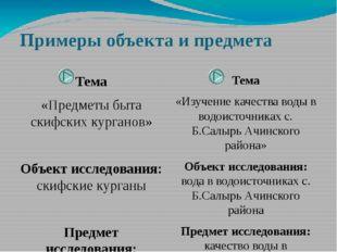 Примеры объекта и предмета Тема «Предметы быта скифских курганов» Объект иссл