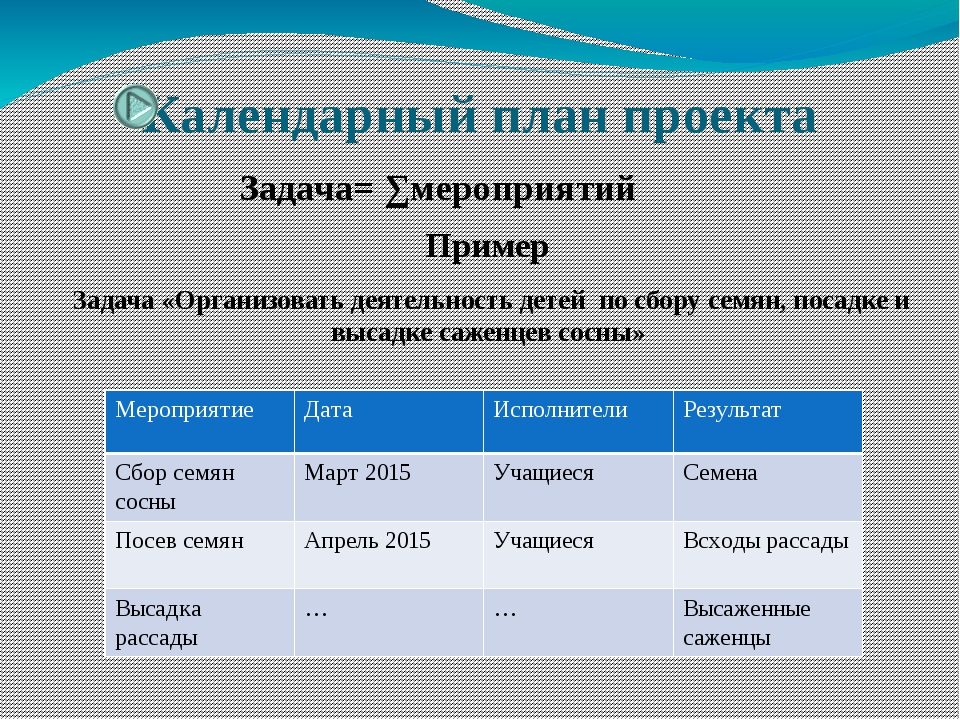 Календарный план проекта Задача= ∑мероприятий Пример Задача «Организовать дея...