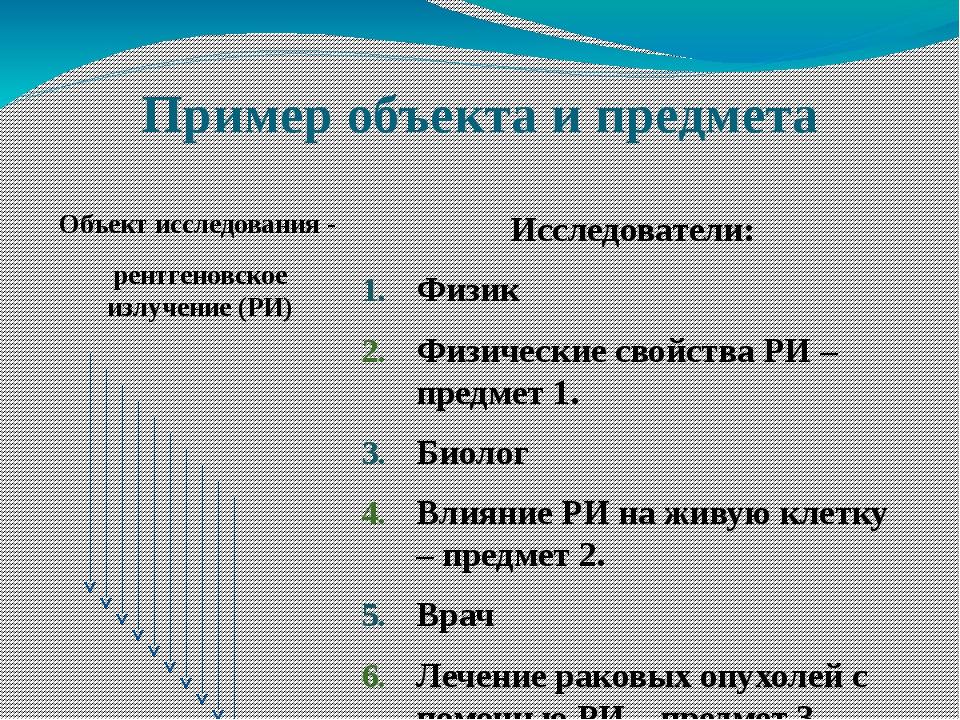 Пример объекта и предмета Объект исследования - рентгеновское излучение (РИ)...
