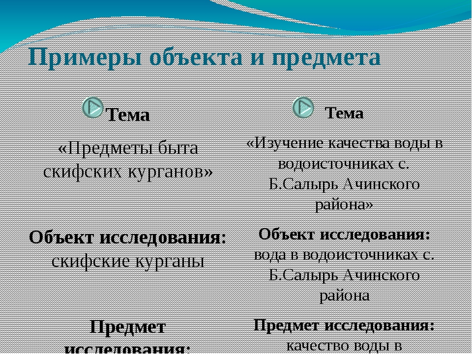 Примеры объекта и предмета Тема «Предметы быта скифских курганов» Объект иссл...