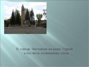 В городе Чистополе на аллее Героев в его честь установлена стела.