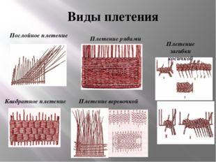 Виды плетения Квадратное плетение Плетение веревочкой Плетение загибки косичк