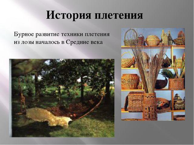 Бурное развитие техники плетения из лозы началось в Средние века История плет...
