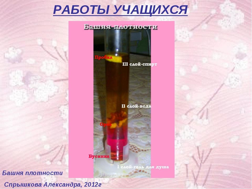 РАБОТЫ УЧАЩИХСЯ Башня плотности Спрышкова Александра, 2012г