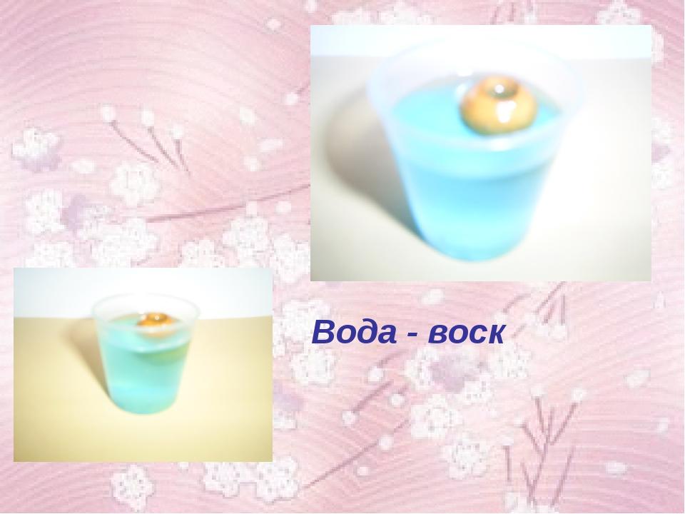 Вода - воск