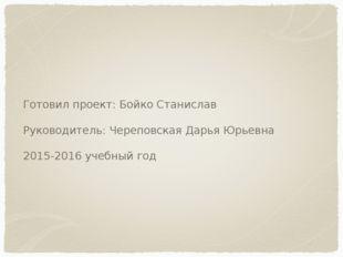 Готовил проект: Бойко Станислав Руководитель: Череповская Дарья Юрьевна 2015-