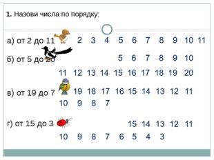 1. Назови числа по порядку: в) от 19 до 7 г) от 15 до 3 а) от 2 до 11 б) от 5