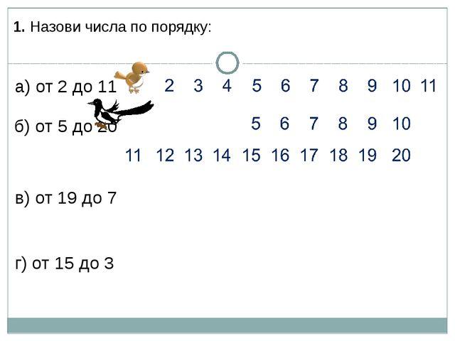 1. Назови числа по порядку: а) от 2 до 11 б) от 5 до 20 в) от 19 до 7 г) от 1...