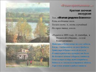 Краткая заочная экскурсия «Малая родина Есенина» Там, где вечно дремлет тайна