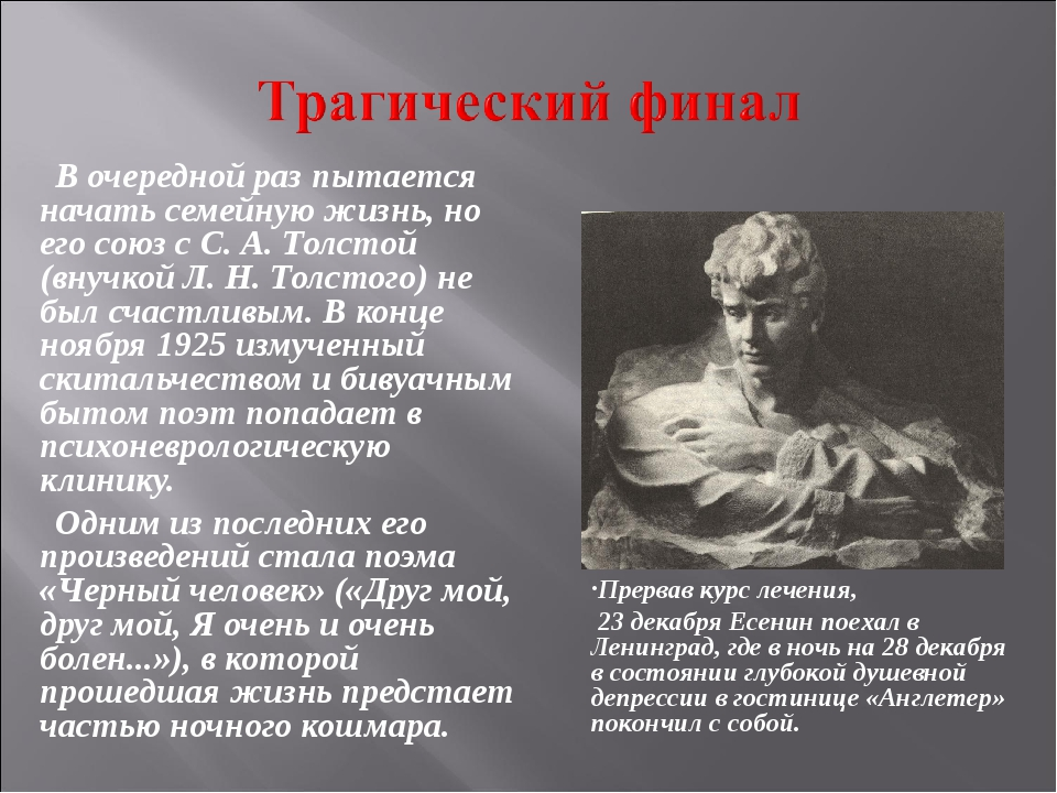 В очередной раз пытается начать семейную жизнь, но его союз с С. А. Толстой (...