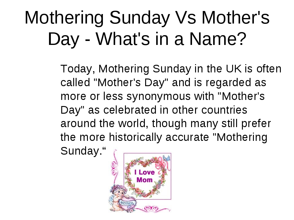 Mothering Sunday Vs Mother's Day - What's in a Name? Today, Mothering Sunday...