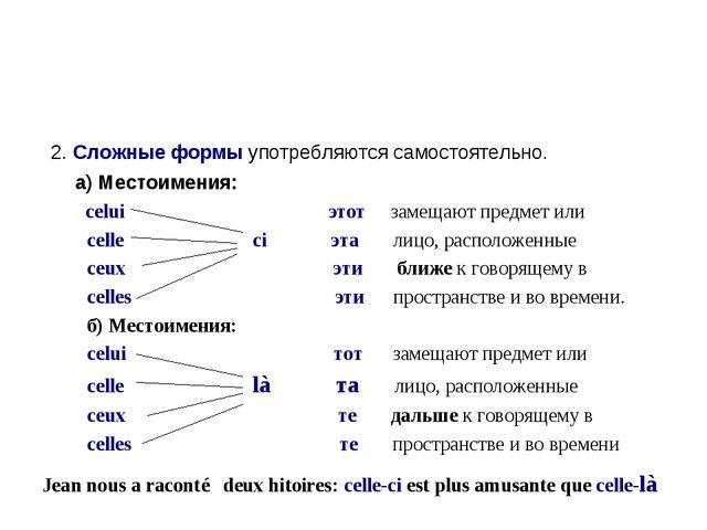 2. Сложные формы употребляются самостоятельно. а) Местоимения: celui этот за...