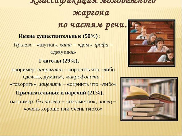 Классификация молодежного жаргона по частям речи. Имена существительные (50%...