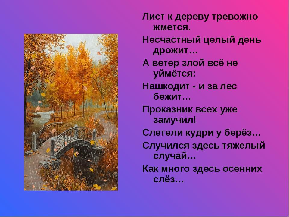 Лист к дереву тревожно жмется. Несчастный целый день дрожит… А ветер злой всё...