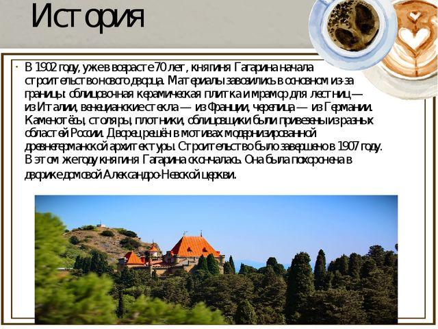 История В1902году, уже в возрасте 70 лет, княгиня Гагарина начала строитель...