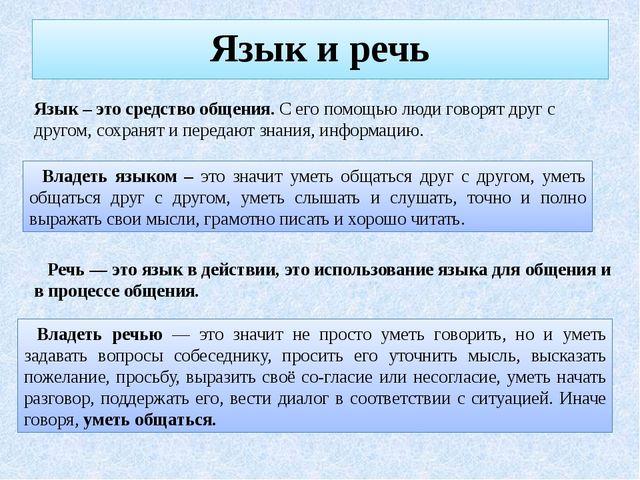 Язык и речь Язык – это средство общения. С его помощью люди говорят друг с др...