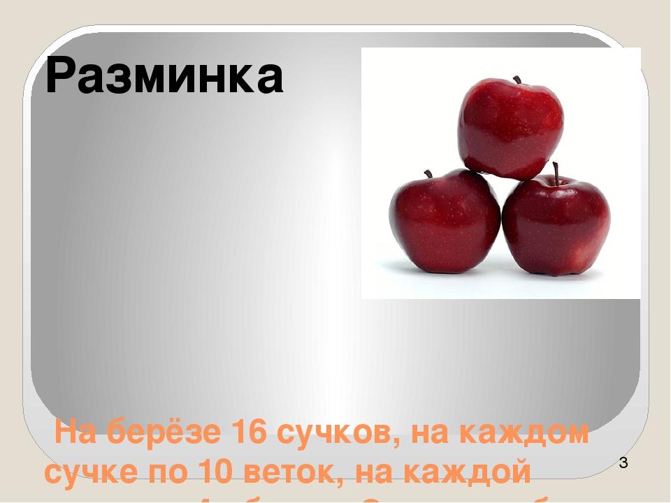 На берёзе 16 сучков, на каждом сучке по 10 веток, на каждой ветке по 4 яблок...