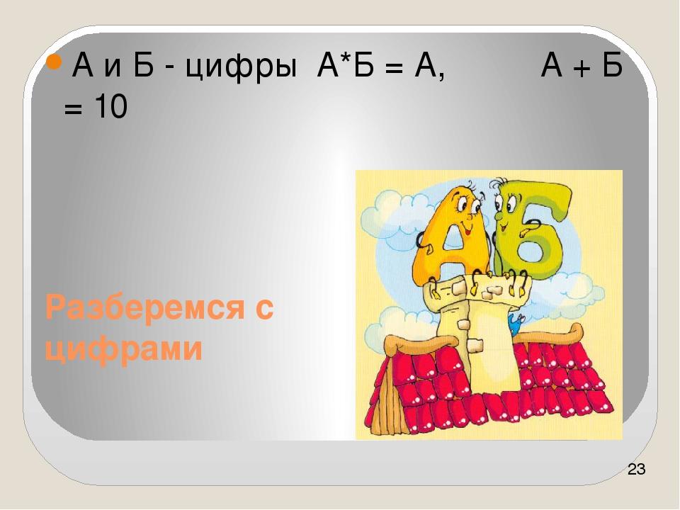 Разберемся с цифрами А и Б - цифры А*Б = А, А + Б = 10