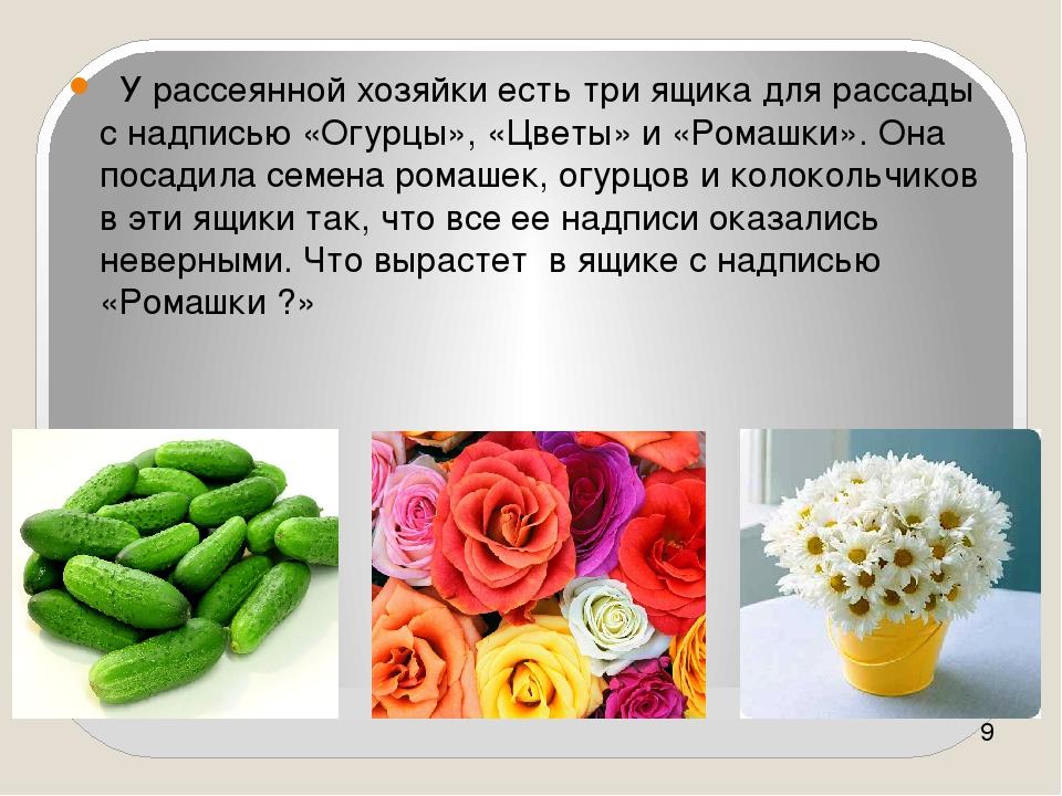 Логика У рассеянной хозяйки есть три ящика для рассады с надписью «Огурцы», «...