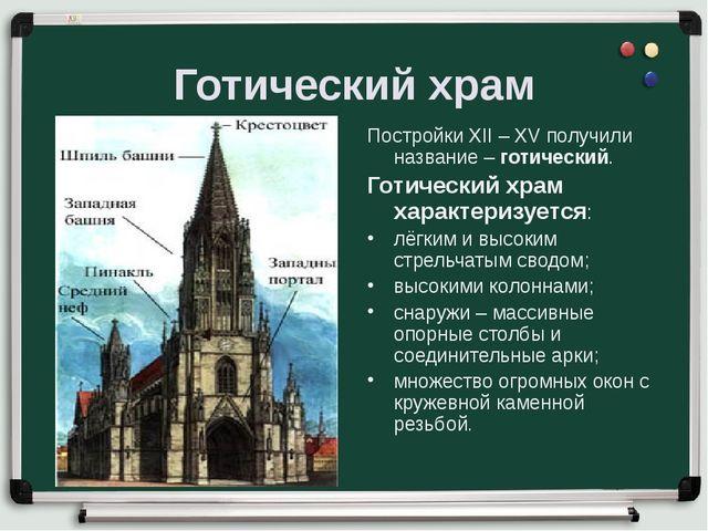 Готический храм Постройки XII – XV получили название – готический. Готический...