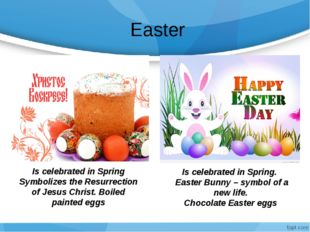 Easter Is celebrated in Spring Symbolizes the Resurrection of Jesus Christ.