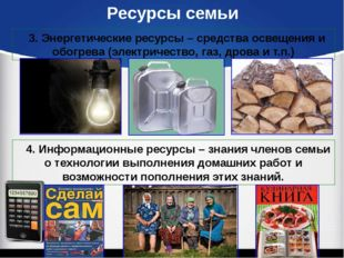 Ресурсы семьи 3. Энергетические ресурсы – средства освещения и обогрева (элек