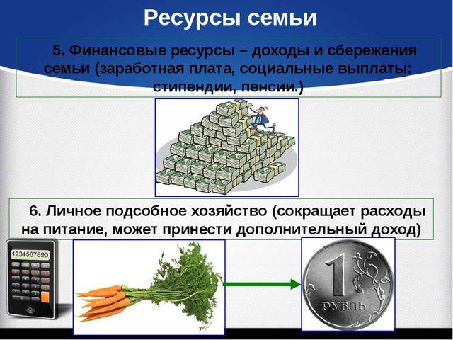 Ресурсы семьи 5. Финансовые ресурсы – доходы и сбережения семьи (заработная...