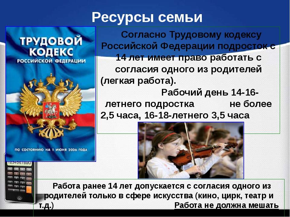 Ресурсы семьи Согласно Трудовому кодексу Российской Федерации подросток с 14...