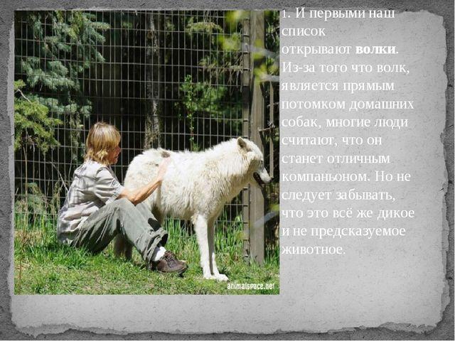 1. И первыми наш список открываютволки. Из-за того что волк, является прямы...