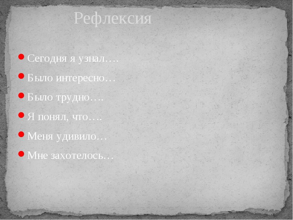 Сегодня я узнал…. Было интересно… Было трудно…. Я понял, что…. Меня удивило…...