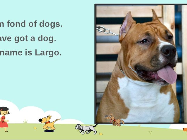 I am fond of dogs. I have got a dog. Its name is Largo.