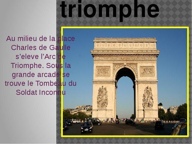 Au milieu de la place Charles de Gaulle s'eleve l'Arc de Triomphe. Sous la gr...