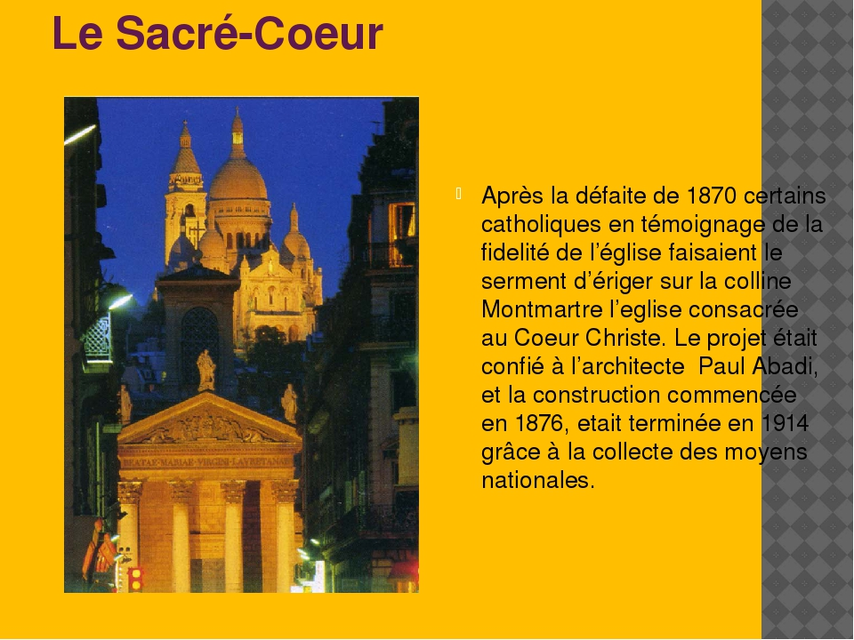 Le Sacré-Coeur Après la défaite de 1870 certains catholiques en témoignage de...
