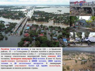 Погибло более 170 человек, в том числе 160 — в Крымском районе, 10 — в Геленд