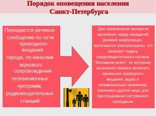 Порядок оповещения населения Санкт-Петербурга Для привлечения внимания населе