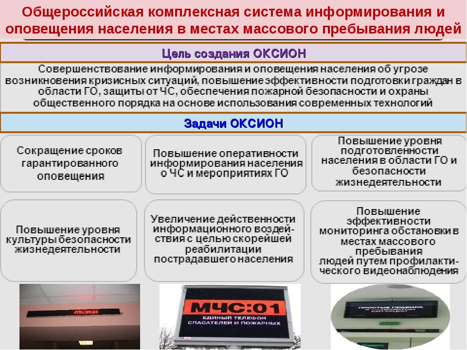 Общероссийская комплексная система информирования и оповещения населения в ме...