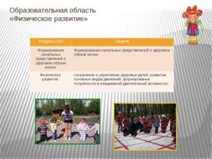 Образовательная область «Физическое развитие» Разделы ОО Задачи Формирование