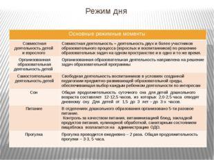 Режим дня Основныережимные моменты Совместная деятельность детей и взрослого