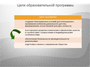 Цели образовательной программы Цели программы создание благоприятных условий
