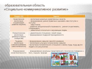 образовательная область «Социально-коммуникативное развитие» РазделОО Задачи