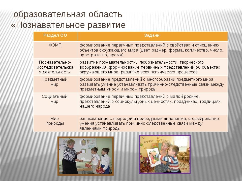 образовательная область «Познавательное развитие Раздел ОО Задачи ФЭМП форми...
