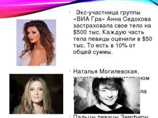 Экс-участница группы «ВИА Гра» Анна Седокова застраховала свое тело на $500