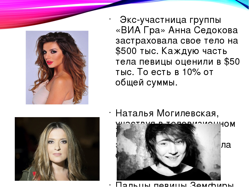 Экс-участница группы «ВИА Гра» Анна Седокова застраховала свое тело на $500...
